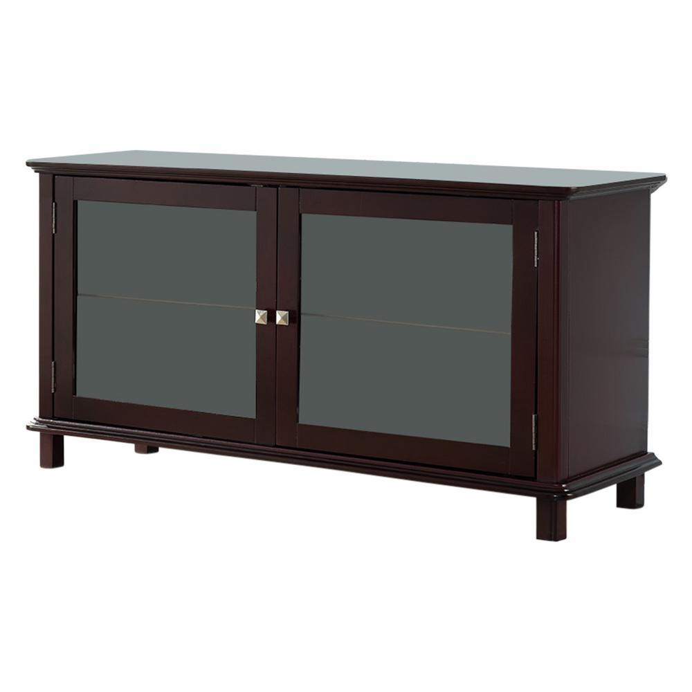 Kings Brand Furniture Dark Cherry TV Stand With Glass