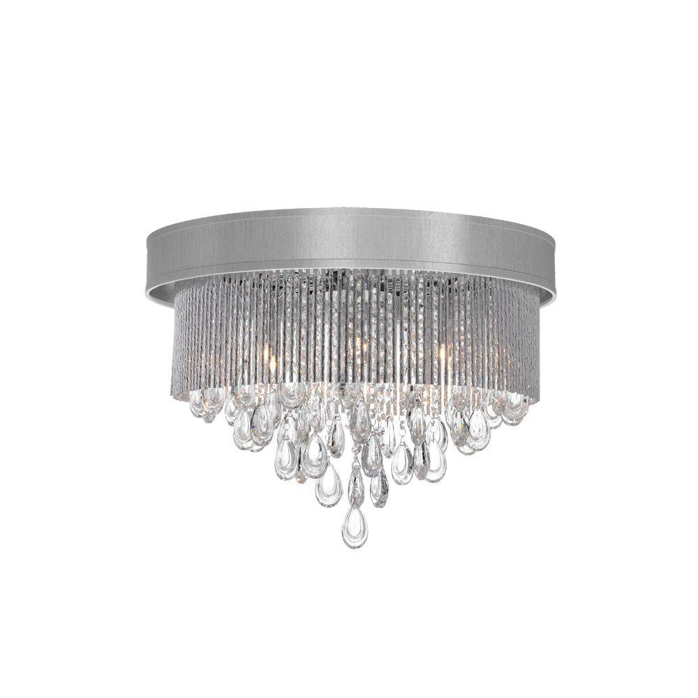 Radionic Hi Tech Intermezzo 4-Light Polished Chrome Crystal Flush Mount with Silver Shade