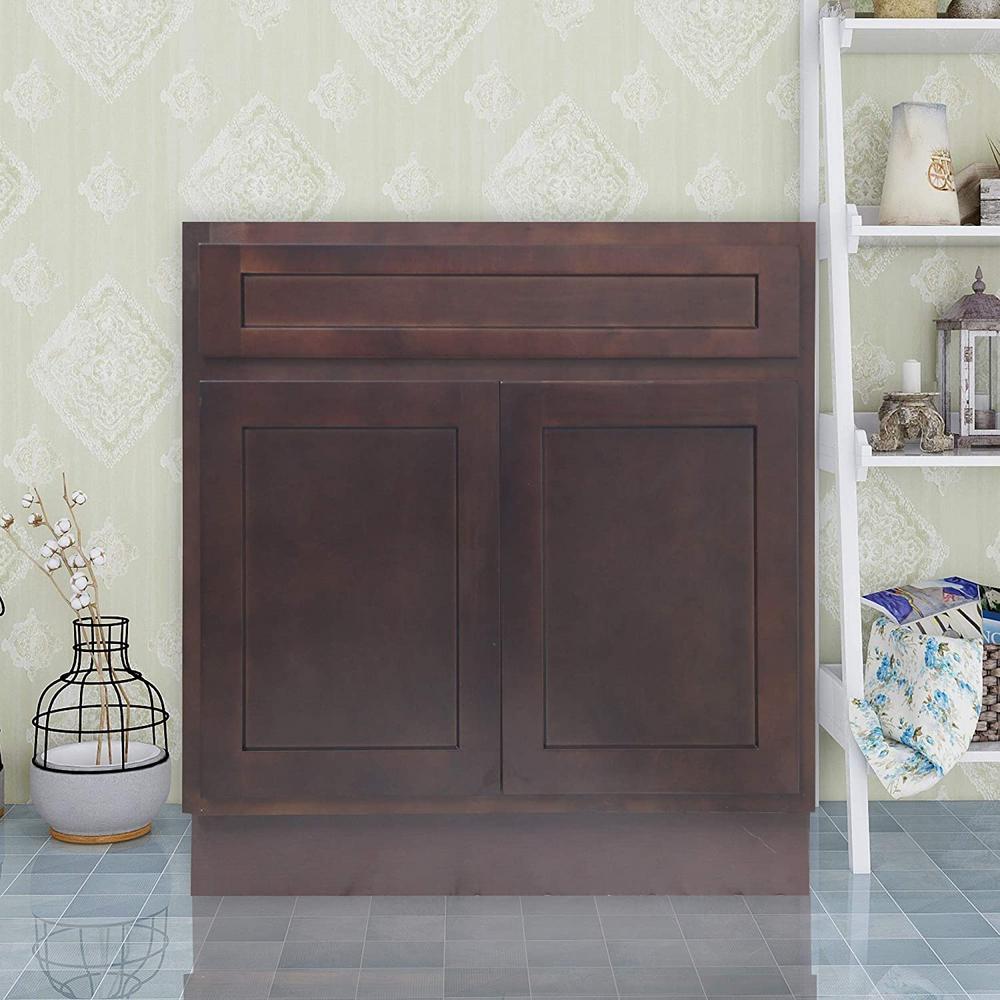 30 in. W x 21 in. D x 32.5 in. H 2-Doors Bath Vanity Cabinet Only in Brown
