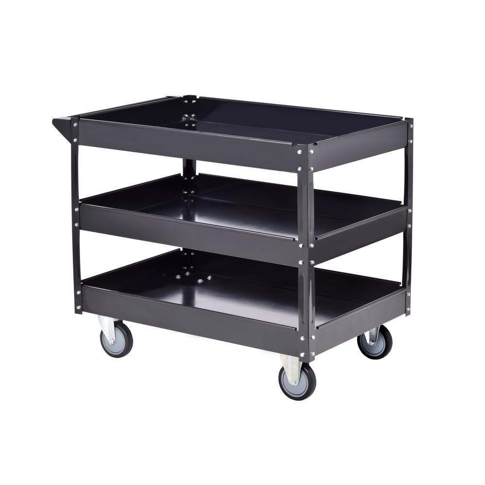 40 in. Steel Utility Cart in Black