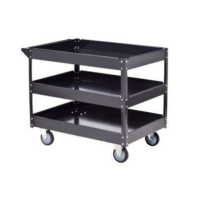 40 in. Steel Utility Cart in Black