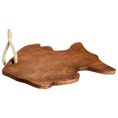 Fish Icon Wooden Cutting Board with Tied Rope