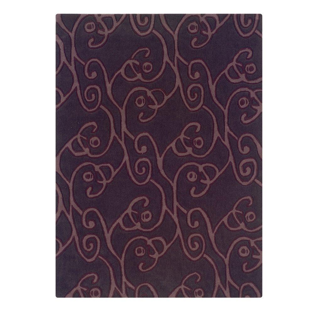 Linon Home Decor Trio Collection Chocolate And Violet 8 Ft X 10 Ft Indoor Area Rug Rug Ta06281