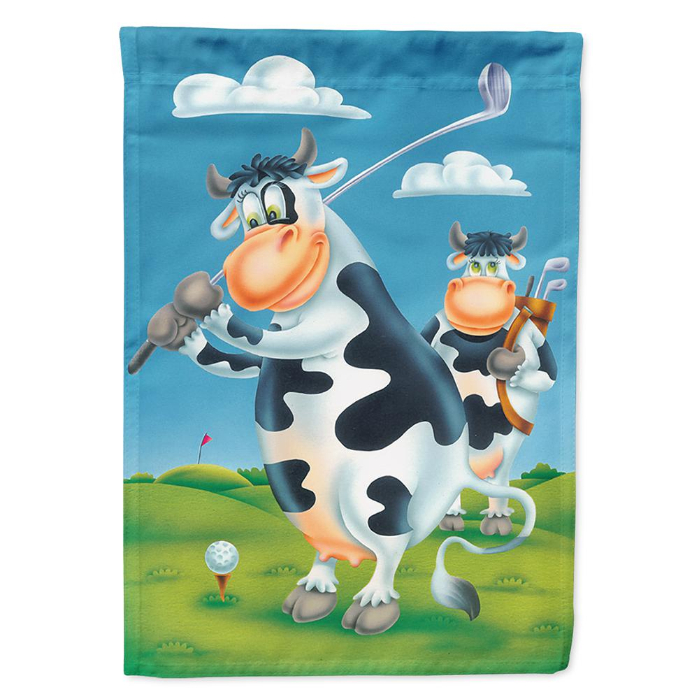 Caroline S Treasures 28 In X 40 In Polyester Cow Playing Golf Flag Canvas House Size 2 Sided Heavyweight Aph0535chf The Home Depot