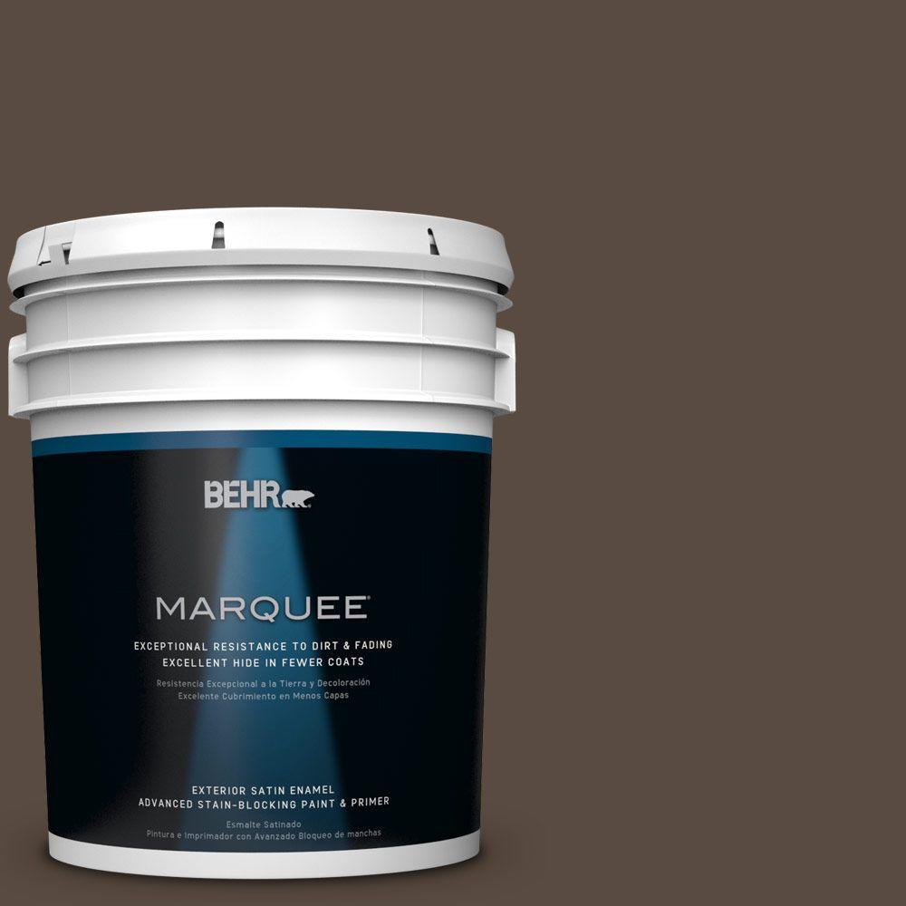 5 gal. #HDC-FL15-05 Warm Pumpernickel Satin Enamel Exterior Paint
