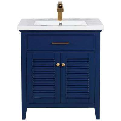 Cameron 30 in. W x 18.5 in. D Bath Vanity in Blue with Porcelain Vanity Top in White with White Basin