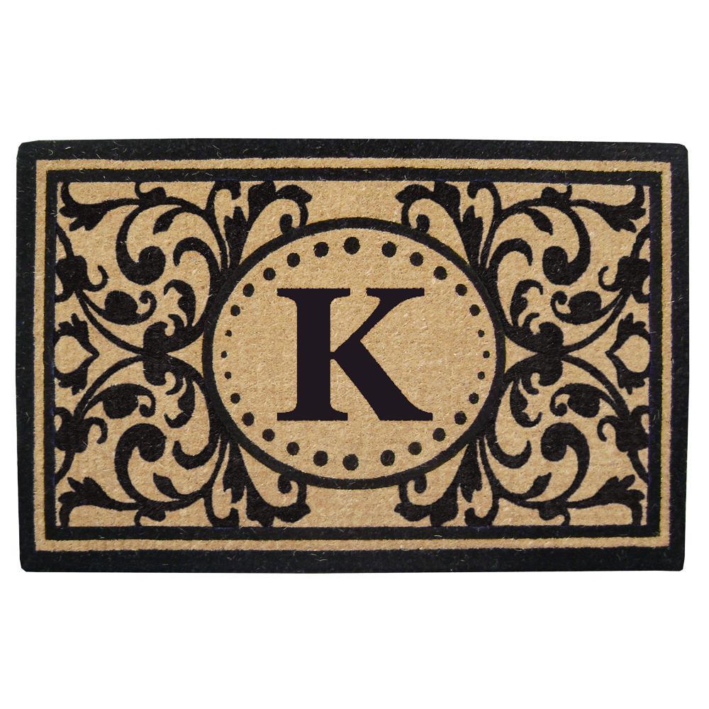 Heritage 30 in. x 48 in. Heavy Duty Coir Monogrammed K Door Mat