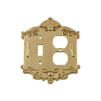 Victorian Switch Plate with Toggle and Outlet in Polished Brass
