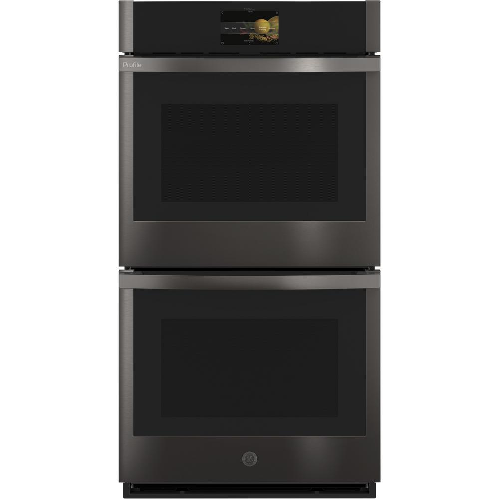 GE Profile 27 in. Smart Double Electric Wall Oven with Convection Self-Cleaning in Black Stainless Steel