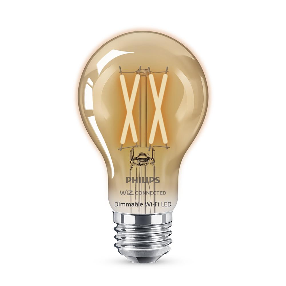 Philips Amber A19 LED 40W Equivalent Dimmable Smart Wi-Fi Wiz Connected Wireless Light Bulb
