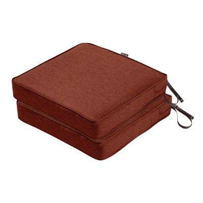 Montlake FadeSafe 19 in. L x 19 in. W x 3 in. T Heather Henna Red Square Outdoor Seat Cushion (2-Pack)