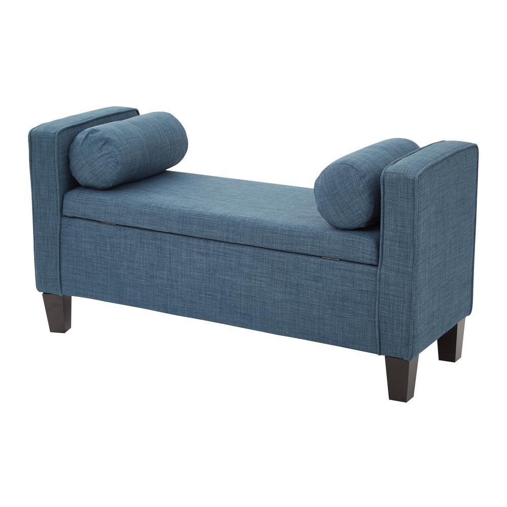 Cordoba Milford Indigo Fabric Storage Bench with Pillows