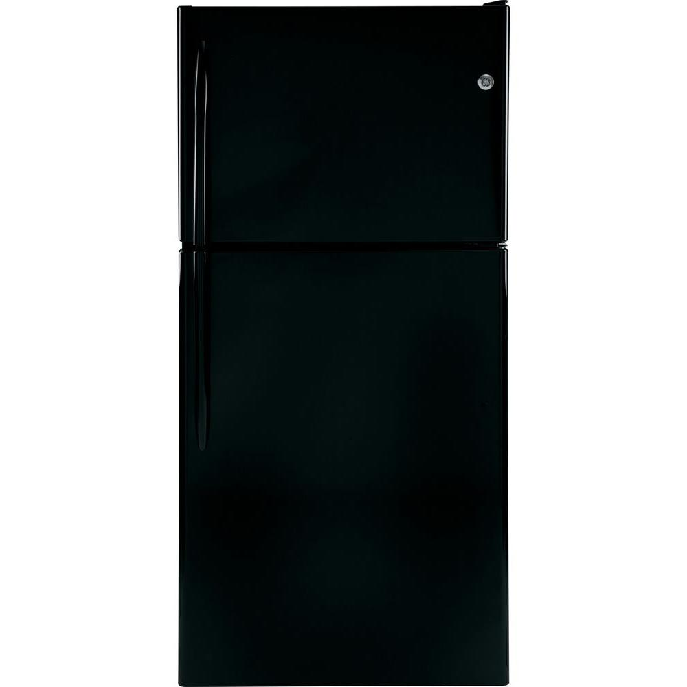 GE 30 in. W 20 cu. ft. Top Freezer Refrigerator in Black