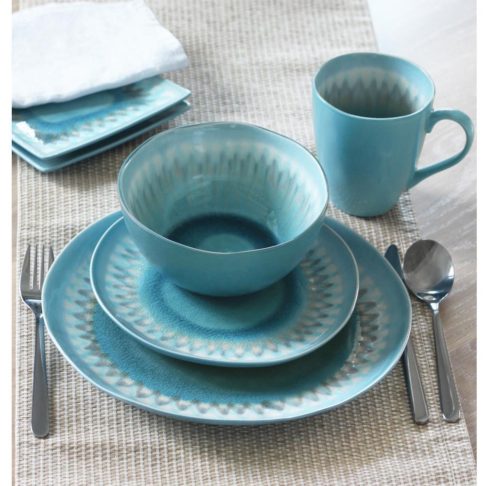 Shibori 16-Piece Blue Dinnerware Set by