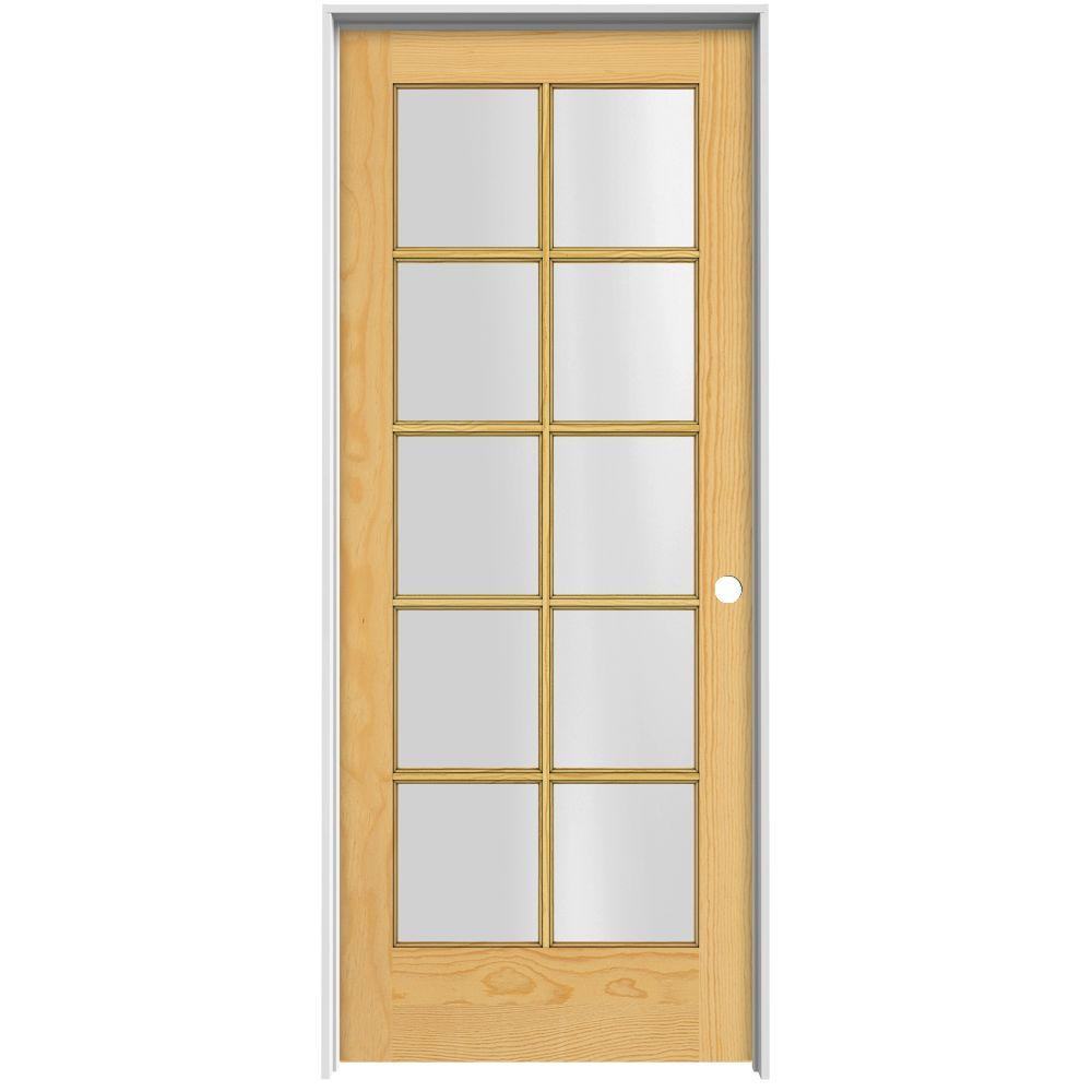 JELD-WEN Woodgrain 10-Lite Unfinished Pine Prehung Interior Door with Primed Jamb-DISCONTINUED