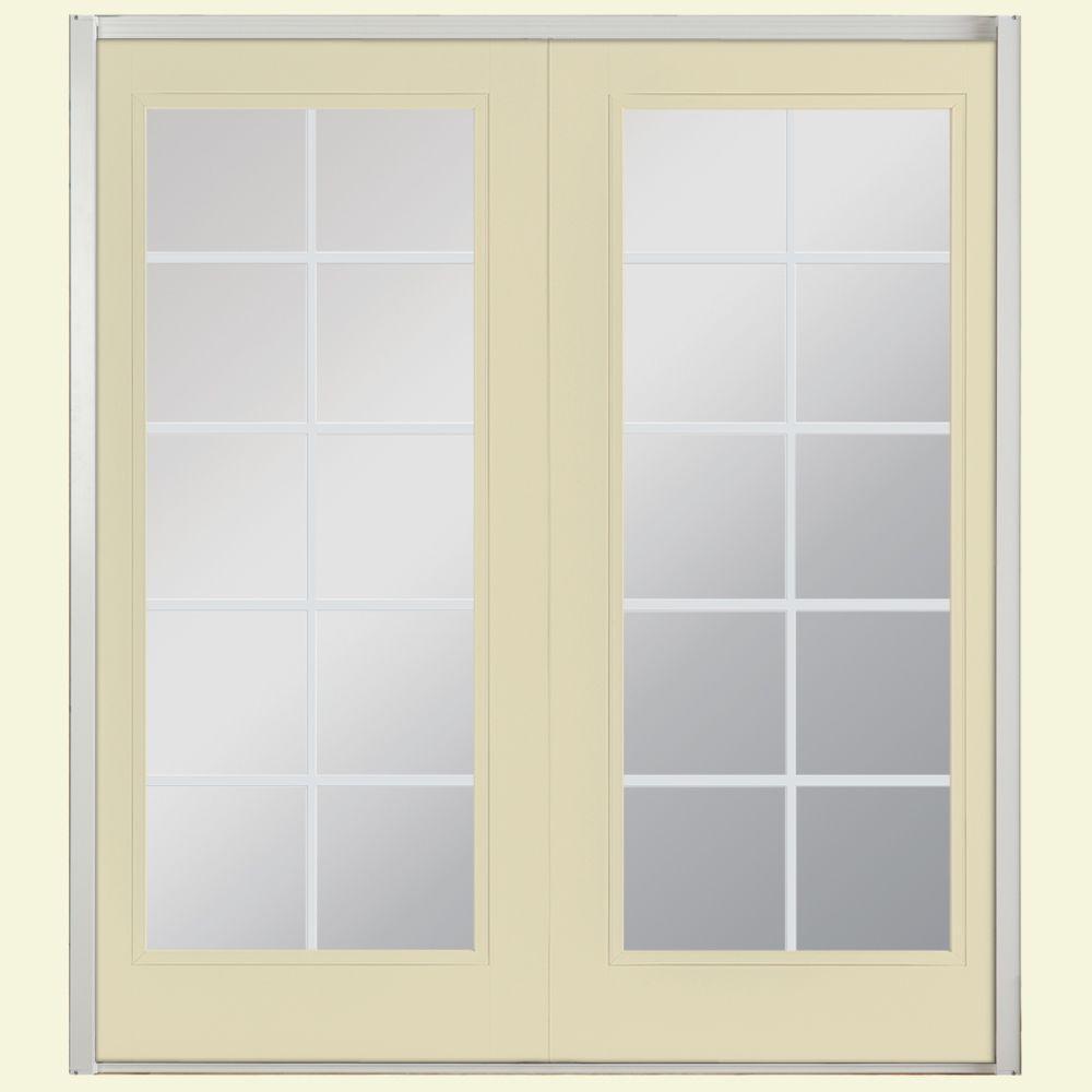 Masonite 60 in. x 80 in. Golden Haystack Prehung Left-Hand Inswing 10 Lite Steel Patio Door with No Brickmold in Vinyl Frame