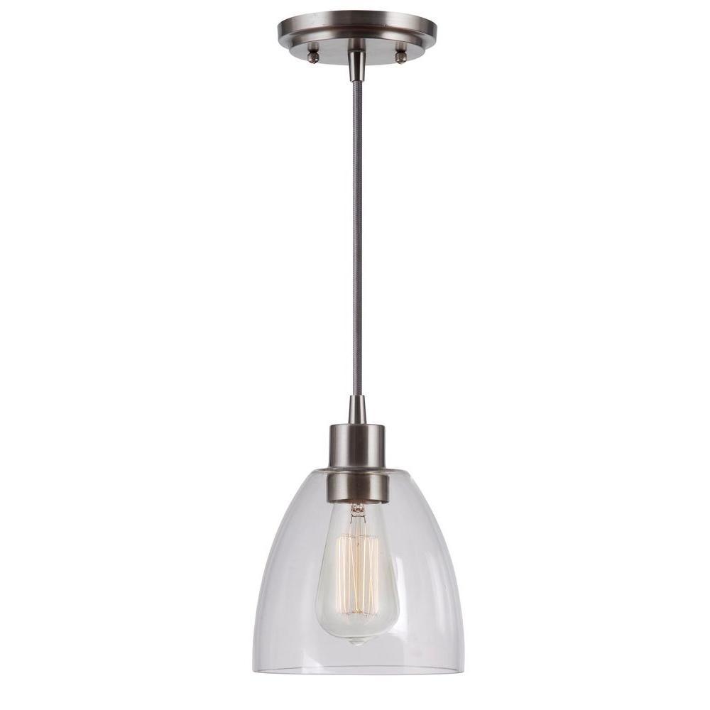 Kenroy Home Edis 1 Light Brushed Steel Mini Pendant