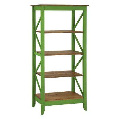 Jay 31.5 in. Green Wash Solid Wood Bookcase with 4-Shelves