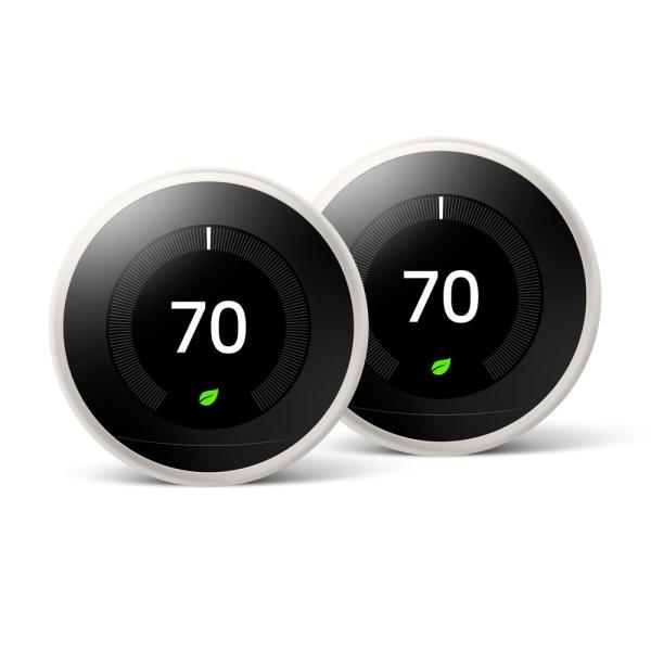 Nest Learning Thermostat 3rd Gen in White (2-Pack)