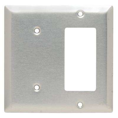 302 Series 2-Gang Decorator/Blank Combination Wall Plate in Stainless Steel