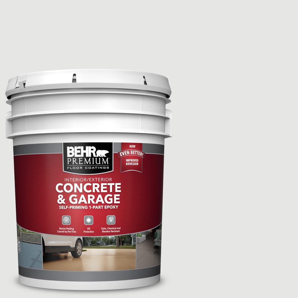BEHR PREMIUM 5 gal. #PFC-66 Ice White Self-Priming 1-Part Epoxy Satin Interior/Exterior Concrete and Garage Floor Paint