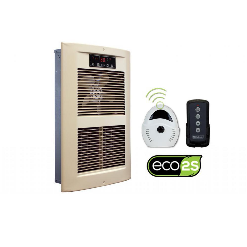 LPW ECO2S 240-Volt 2500-4500-Watt 8530-15354 BTU Electric Wall Heater in Almondine