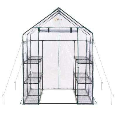 56 in. W x 56 in. D Deluxe Walk-in 6-Tier 12 Shelf Portable Greenhouse