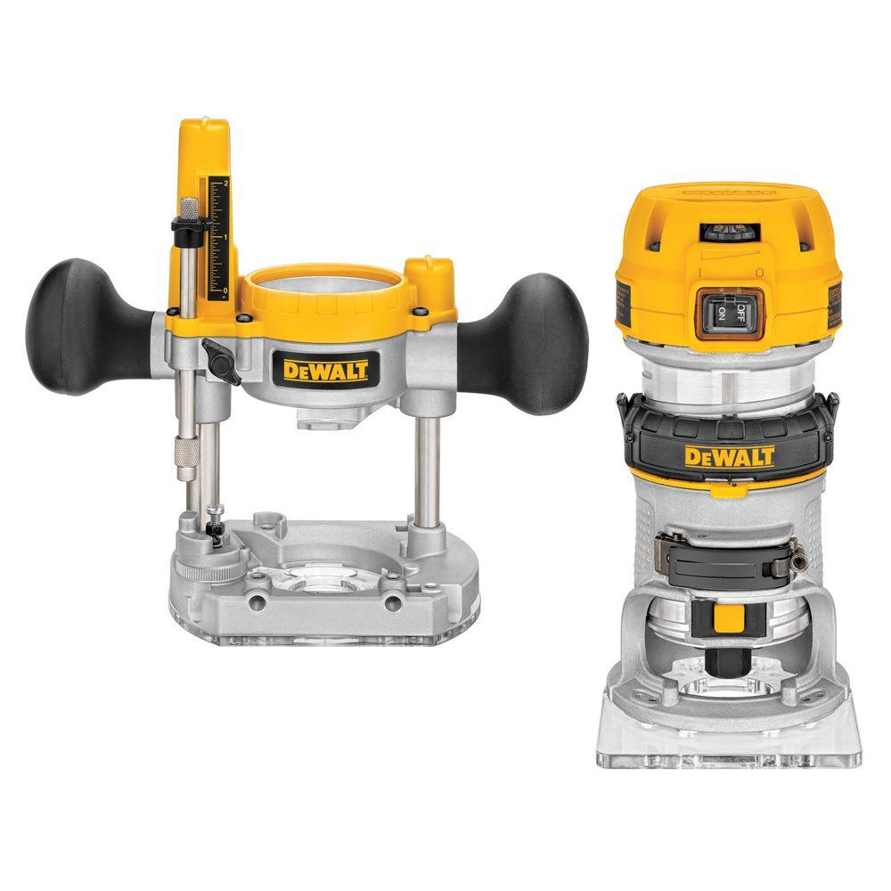 DEWALT 1.25 HP Compact Router with Plunge Base and Bag