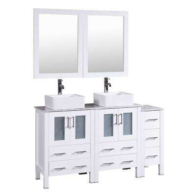 60 in. Double Vanity in White with Carrara Marble Vanity Top in Gray with White Basin Polished Chrome Faucet and Mirror
