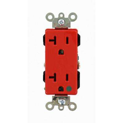 Decora Plus 20 Amp Hospital Grade Extra Heavy Duty Self Grounding Duplex Outlet, Red