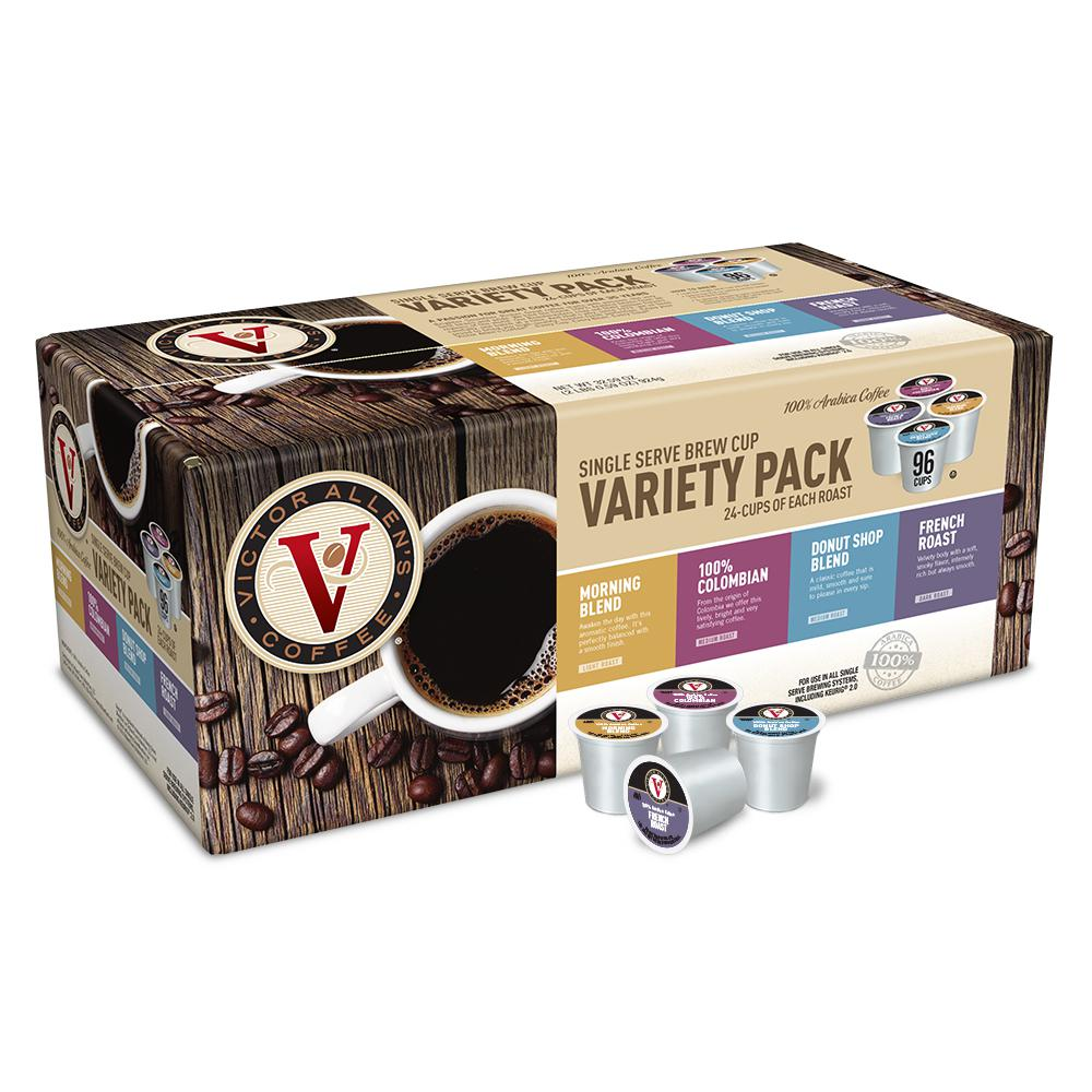 Victor Allen's Variety Pack Coffee 24-Each of Morn Blend, Donut Shop, 100% Colombian and French Roast (96 Single Serve Cups per Case)