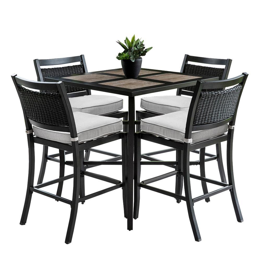 Outdoor/Indoor 9 Piece Aluminum Outdoor Bar Height Dining Set With 4 Wicker