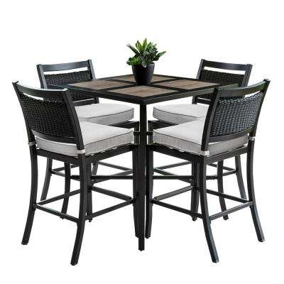 Outdoor/Indoor 9 Piece Aluminum Outdoor Bar Height Dining Set With 4 Wicker  Bar Stools And Sunbrella Beige Cushions