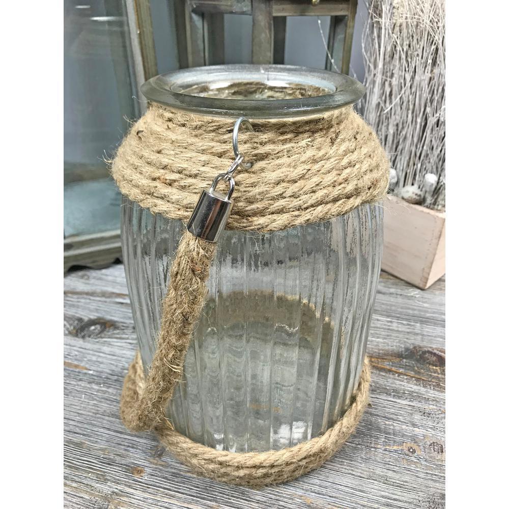 Jute Rope Glass Large Round Ridged Candle Holder
