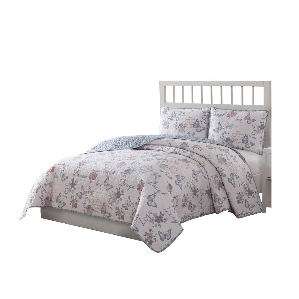 Live Laugh Love Reversible 3-Piece Queen Quilt Set
