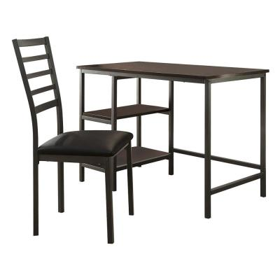 24 in. W Black Metal and PU Study Computer Set with Writing Desk and PU Chair