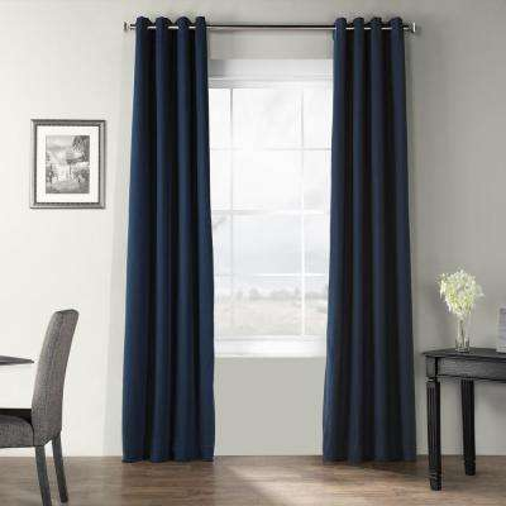 Elegant Navy Blue Bark Weave Solid Cotton Grommet Curtain - 50 in. W x 96 in. L