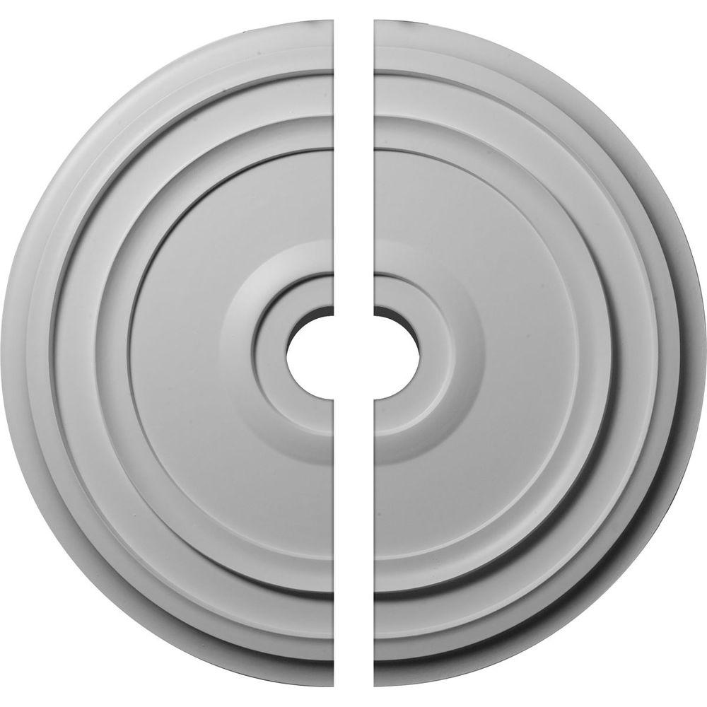 Ekena Millwork 24-3/8 in. O.D. x 3-1/2 in. I.D. x 1-1/8 in. P Reece Ceiling Medallion (2-Piece ...