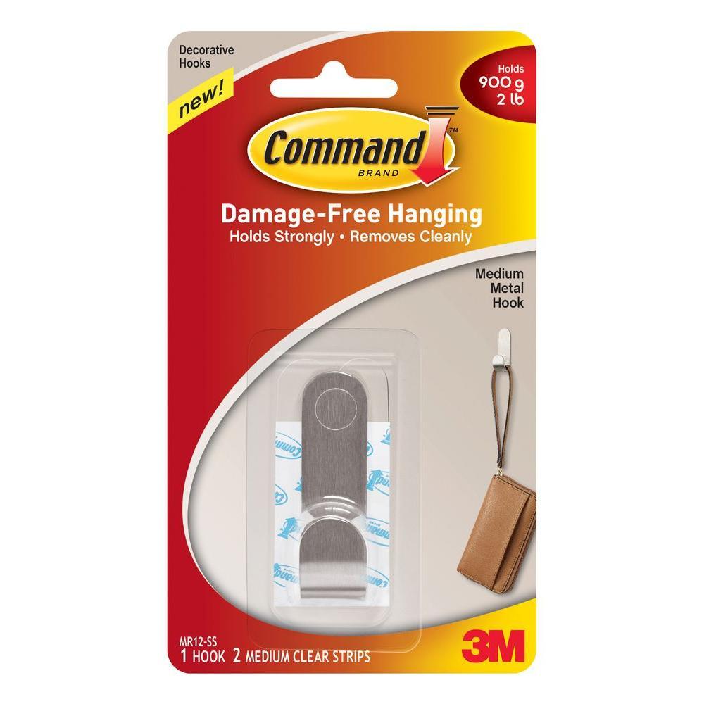 Command Medium Modern Metal Hook (3-Pack)