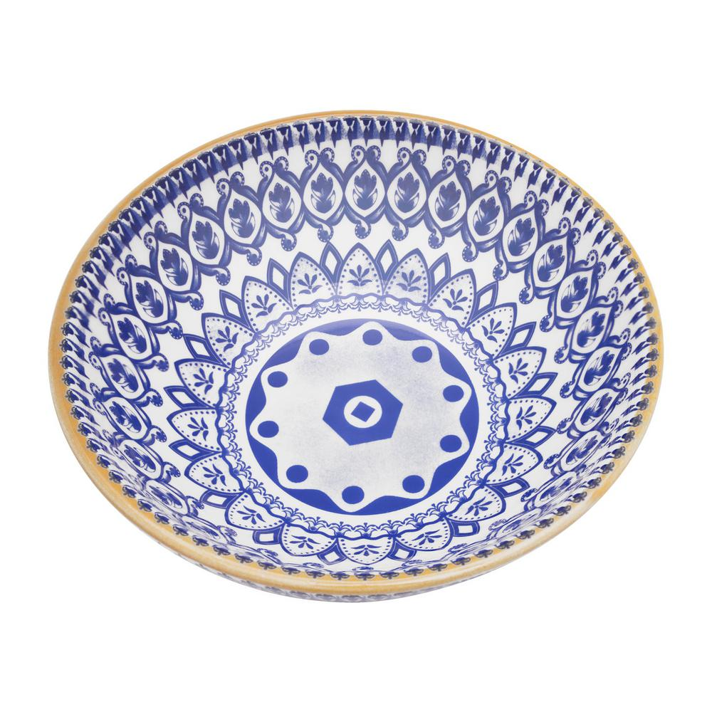 Manhattan Comfort Full Bowl 20.29 oz. Blue and Yellow Earthenware Soup Bowls (Set of 6) was $89.99 now $56.63 (37.0% off)