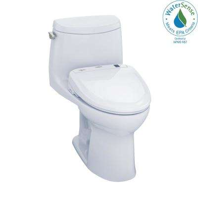UltraMax II Connect 1-Piece 1.0 GPF Elongated Toilet with Washlet S350e Bidet and CeFiOntect in Cotton White