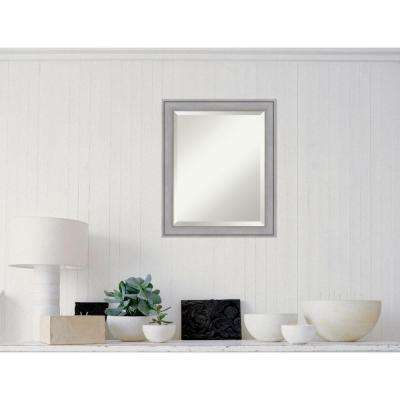 Graywash Wood 19 in. x 23 in. Contemporary Framed Mirror