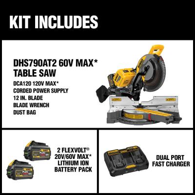 FLEXVOLT 120-Volt MAX Lithium-Ion Cordless Brushless 12 in. Sliding Miter Saw w/ AC Adapter, (2) Batteries 2Ah & Charger