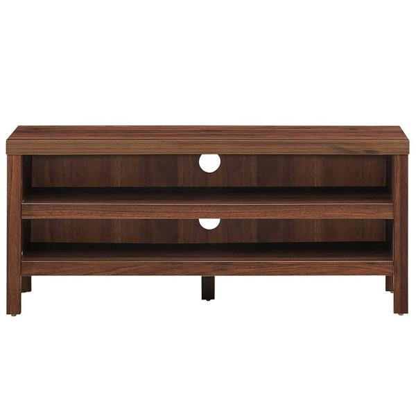 42 in. Walnut Wood End Table with 2-Open storage shelves