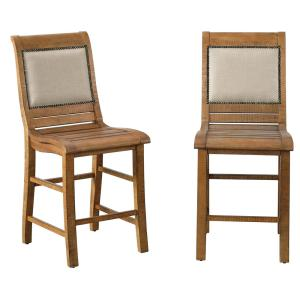 Willow Distressed Pine Upholstered Counter Chairs (2/ctn)