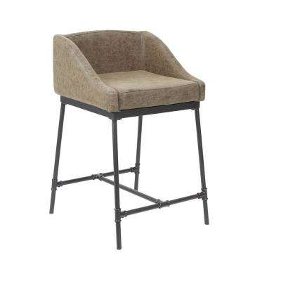 Renzo 24 in. Brown and Black Industrial Bar Stool