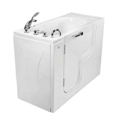Wheelchair Transfer26 52 in. Acrylic Walk-In MicroBubble Air Bath Bathtub in White, Faucet, Heated Seat, Left Dual Drain