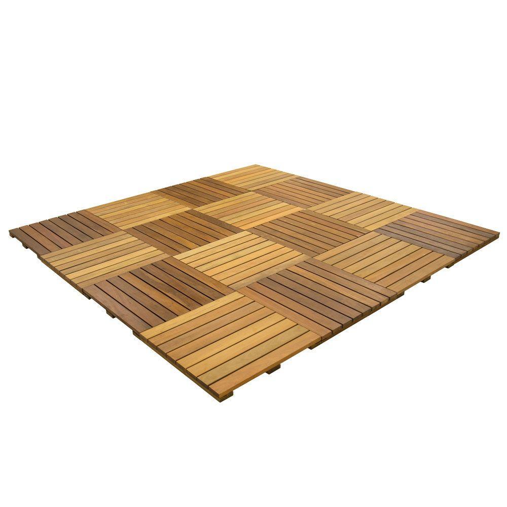 WiseTile 8 ft. x 8 ft. 64 sq. ft. Solid Hardwood Deck Tile Starter Kit in Exotic Ipe