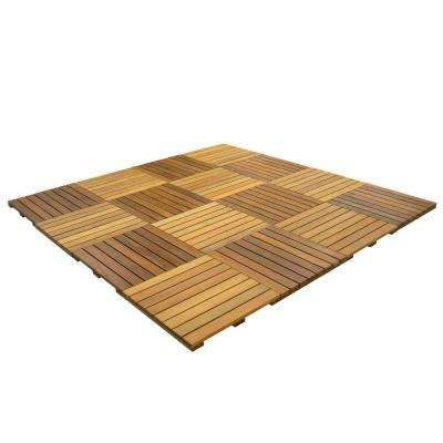 WiseTile 8 ft. x 8 ft. 64 sq. ft. Solid Hardwood Deck Tile Starter Kit in Exotic Ipe