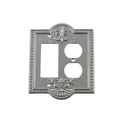 Meadows Switch Plate with Rocker and Outlet in Bright Chrome